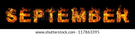 September text on fire - stock photo