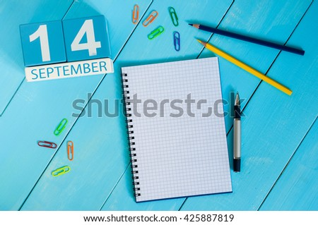 September 14th. Image of september 14 wooden color calendar on white background. Autumn day. Empty space for text - stock photo