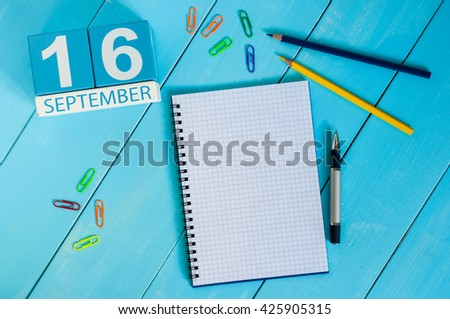 September 16th. Image of september 16 wooden color calendar on white background. Autumn day. Empty space for text - stock photo