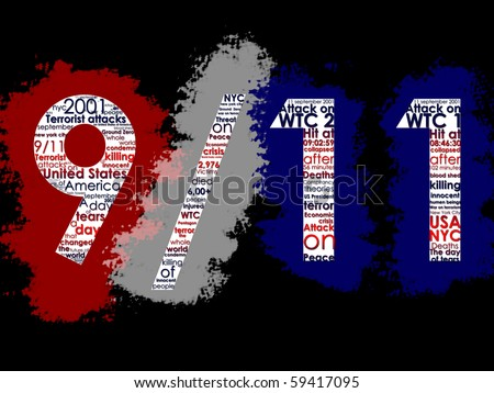 September 11, Typographic Illustration - stock photo