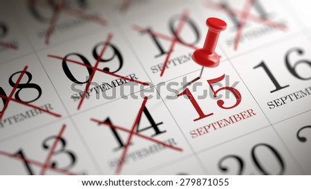 September 15 written on a calendar to remind you an important appointment. - stock photo