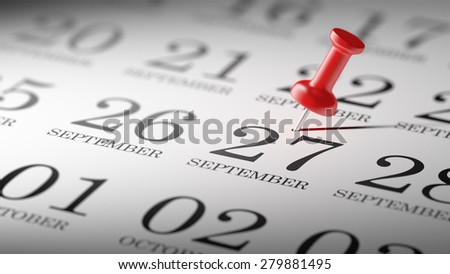 September 27 written on a calendar to remind you an important appointment.