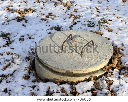 Septic system in rural area - stock photo