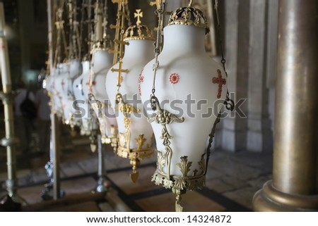 Sepulchre of Jesus Christ in the church of the holy sepulchre, jerusalem, israel. - stock photo