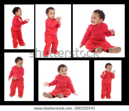 Sequence of a african baby standing isolated on a white background - stock photo