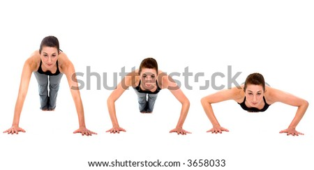 sequence of a girl doing exercise - push ups over a white background - stock photo