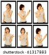 Sequence of a girl on the phone - stock photo