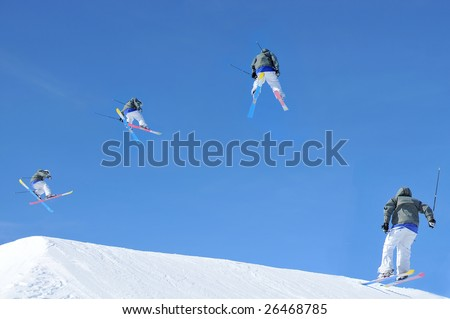 sequence of a skier making a jump. In chronological order from left to right. Initially he crosses his skis and starts a turn. In the second pose he has half completed his turn