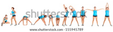 sequence of fit girl doing physical exercise isolated in white - stock photo