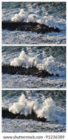 Sequence of shots of a powerful wave breaking against the lighthouse of Camogli, Italy - stock photo