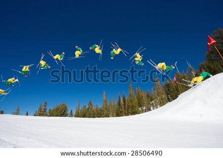 Sequence of Skier Doing a Radical Double Back flip - stock photo