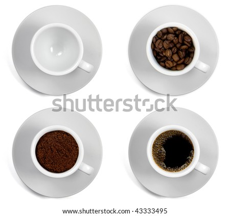 sequence of the cups of coffee isolated on white background - stock photo