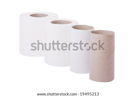 Sequence of toilet paper rolls from new to empty
