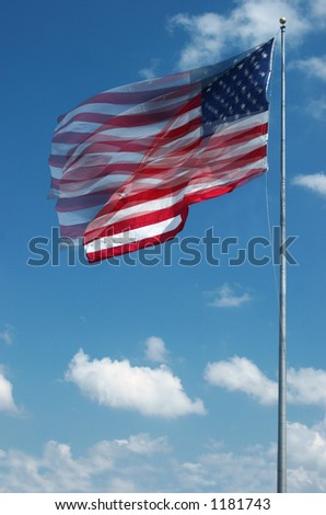 Sequence photo of stars and stripes waving in the wind on a sunny day