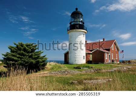 Sequin Island Lighthouse is the most powerful beacon on the Maine coast with its highest order fresnel lens. - stock photo