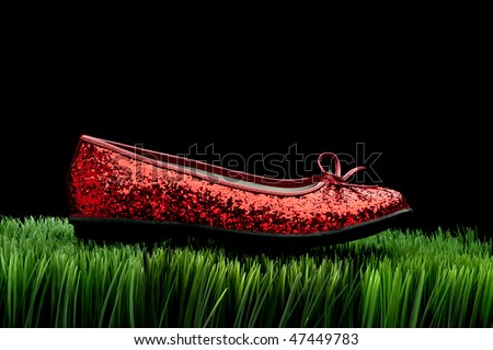 Sequined red slipper on green grass on black - stock photo