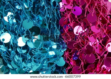 Sequins fabric pink blue pattern fashion texture background - stock photo