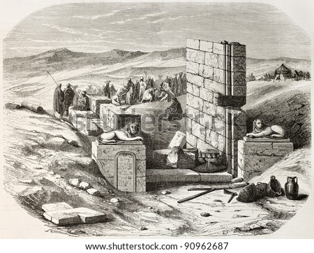 Serapeum of Saqqara finding: entry door. Created by De Bar after Barbot, published on L'Illustration, Journal Universel, Paris, 1858 - stock photo