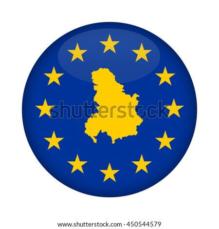 Serbia and Montenegro map on a European Union flag button isolated on a white background. - stock photo