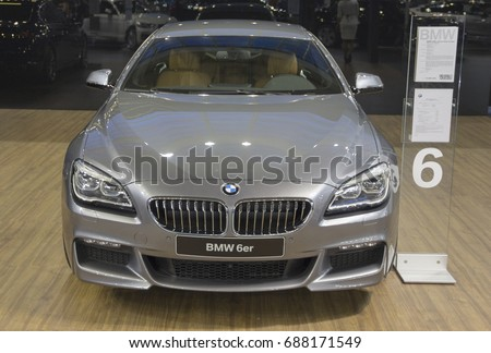 Serbia; Belgrade; April 2, 2017; Front side of gray BMW 6 Series; the 53rd International Motor Show in Belgrade from March 24th to April 2nd, 2017.