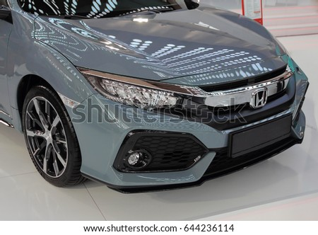 Serbia; Belgrade; April 2, 2017; front side of gray Honda Civic; The 53rd International Motor Show in Belgrade from March 24th to April 2nd, 2017.