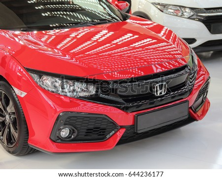 Serbia; Belgrade; April 2, 2017; front side of red Honda Civic; The 53rd International Motor Show in Belgrade from March 24th to April 2nd, 2017.