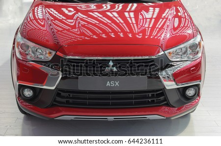 Serbia; Belgrade; April 2, 2017; front side of red Mitsubishi ASX; The 53rd International Motor Show in Belgrade from March 24th to April 2nd, 2017.