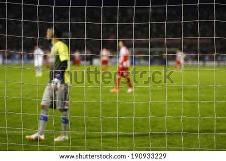 SERBIA, BELGRADE - APRIL 27, 2014: Goalkeeper Bajkovic defending goal. Eternal rivals have met 146th times in the Eternal soccer derby, FC Partizan and Red Star from Belgrade, was played on 27 April.