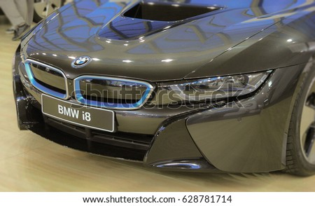Serbia; Belgrade; April 2, 2017; Mask of BMW i8; the 53rd International Motor Show in Belgrade from March 24th to April 2nd, 2017.