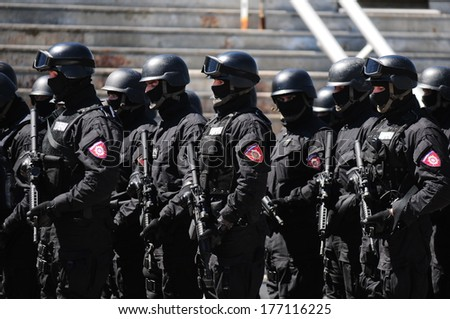 SERBIA, BELGRADE - APRIL 29, 2012: Soldiers of the Serbian police (MUP) elite units, the Gendarmerie, standing in line marking Gendarmerie day