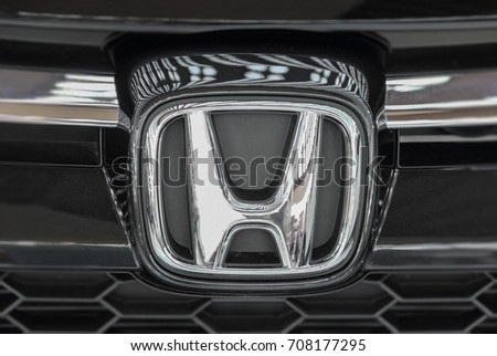 Serbia; Belgrade; April 2, 2017; The close up of Honda logo; The 53rd International Motor Show in Belgrade from March 24th to April 2nd, 2017.