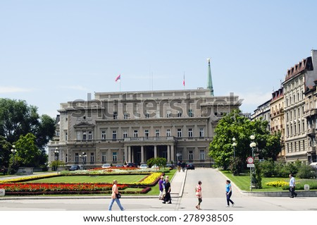 SERBIA, BELGRADE - August 4, 2014 : Backside of the parliament building of Serbia in Belgrade. Tourist attraction in the city. - stock photo