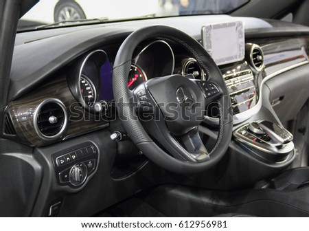 Serbia; Belgrade; March 29, 2017; Interior of the Mercedes-Benz Vito; the 53rd International Motor Show in Belgrade from March 24th to April 2nd, 2017.