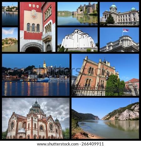 Serbia country photo collage. Travel photos set with Belgrade (capital city), Novi Sad, Subotica and Golubac Fortress. - stock photo