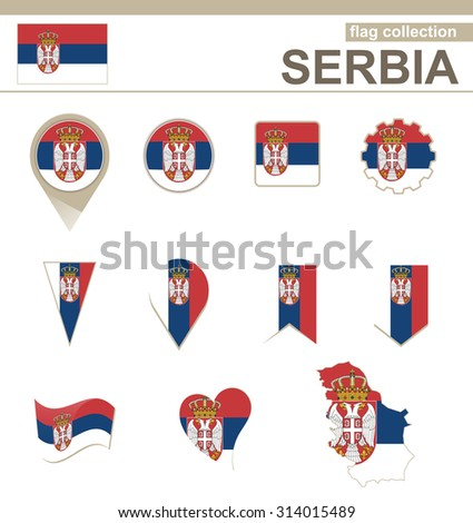 Serbia Flag Collection, 12 versions, Rasterized Copy