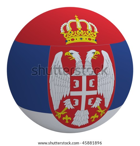 Serbia flag on the ball isolated on white. Computer generated 3D photo rendering. - stock photo