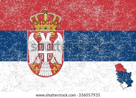 Serbian flag - stock photo