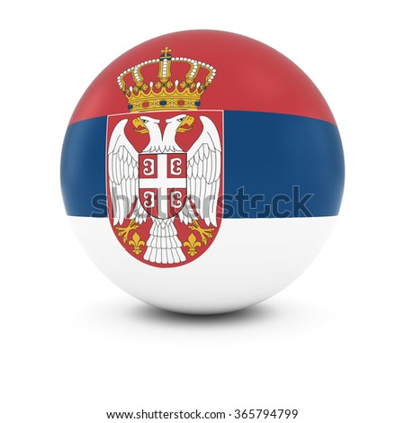 Serbian Flag Ball - Flag of Serbia on Isolated Sphere - stock photo