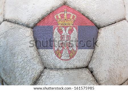 Serbian flag soccer - stock photo