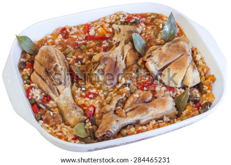 Serbian Traditional Oven Baked Chicken Meat with Vegetable Stew, in Porcelain Baking Pan, Isolated on White Background.