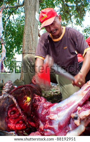 SEREMBAN, MALAYSIA - NOV 6 : An unidentified Malaysian Muslim helps in slaughtering a cow to distribute to the poor during Eid Al-Adha Al Mubarak, the Feast of Sacrifice on November 6, 2011 in Seremban, Malaysia. - stock photo