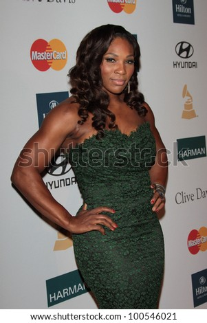 Serena Williams at the Clive Davis And The Recording Academy's 2012 Pre-GRAMMY Gala, Beverly Hilton Hotel, Beverly Hills, CA 02-11-12 - stock photo