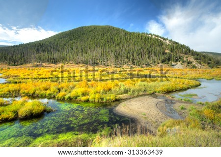 Serence scene of fall colors in the mountains in Montana. - stock photo