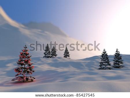 serene christmas scene - stock photo