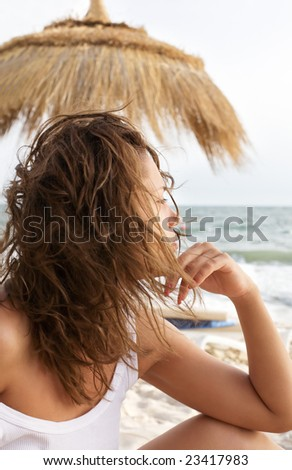 serene girl on the beach
