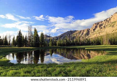 Serene landscape in the Utah mountains, USA. - stock photo