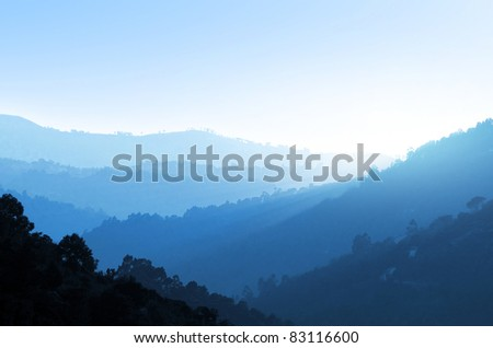 Serene landscape of the mountains in the Douro River Valley, Portugal - stock photo