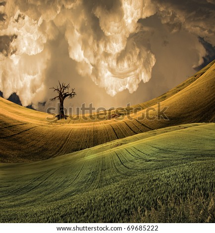 Serene landscape with dramatic sky - stock photo