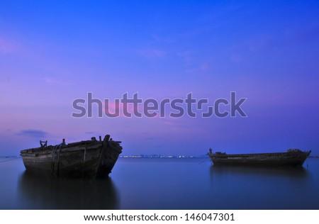 Serene sunset seascape Pattaya Thailand  - stock photo