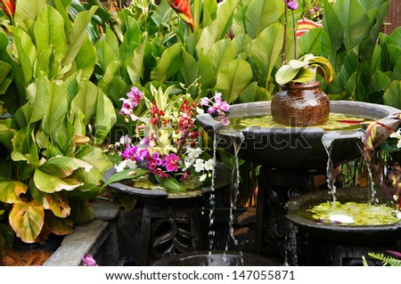 Serene view in beautiful garden - stock photo